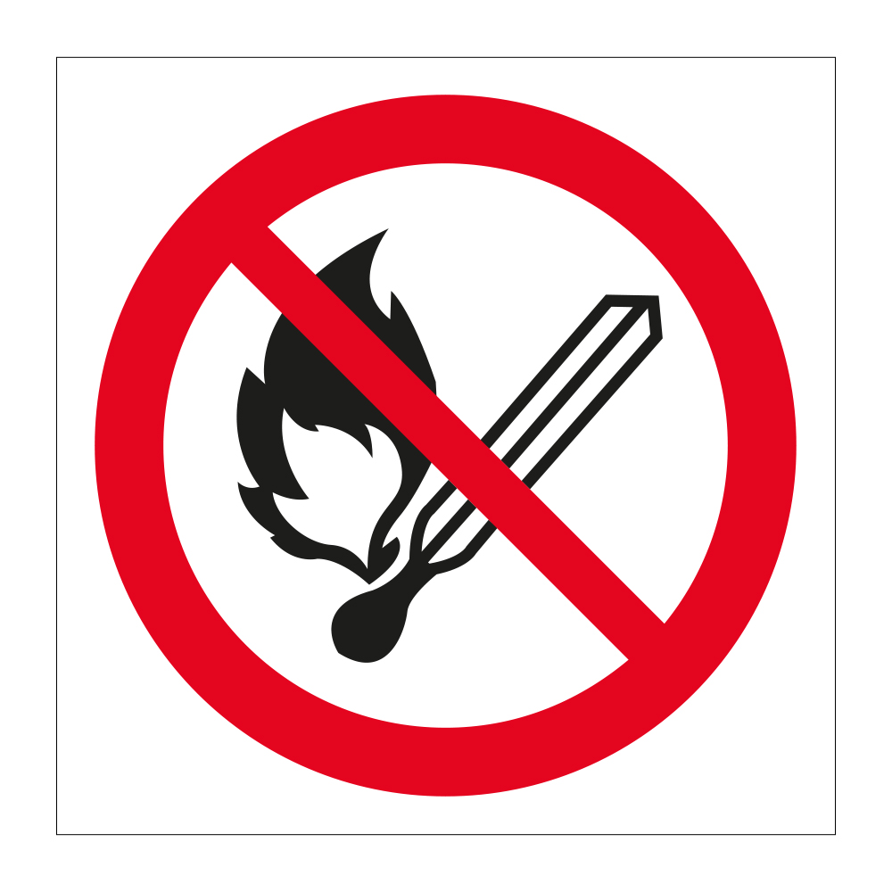No Naked Flames Safety Sign - Prohibited Stickers