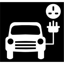 Hotline Preformed White Electric Car Symbol No Background