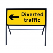 Diverted Traffic Left Ahead Metal Sign Face (P2703)