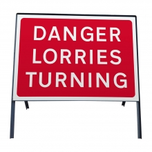 Danger Lorries Turning Metal Sign Face (P7010.1)