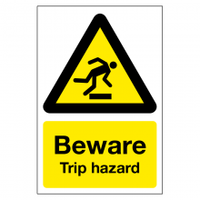 Beware Trip Hazard Sign