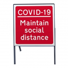 COVID-19 Maintain Social Distance Metal Sign Face (COVID-19)