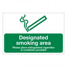 Designated Smoking Area Please Place Extinguished Cigarettes Sign