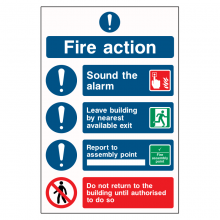 Fire Action Procedure 4 Point Do Not Return Sign