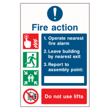 Fire Action Procedure 4 Point Do Not Use Lifts Sign