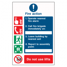 Fire Action Procedure 5 Point Call Fire Brigade Sign