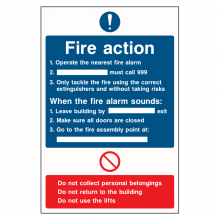 Fire Action Essential Instructions Sign