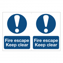 Fire Escape Keep Clear Sign (2up)