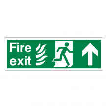 Fire Exit Running Man Right & Up Arrow Sign