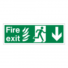 Fire Exit Running Man Right & Down Arrow Sign