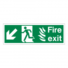 Fire Exit Running Man Left & Diagonal Arrow Down Sign