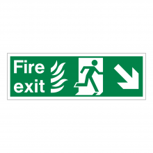 Fire Exit Running Man Right & Diagonal Arrow Down Sign