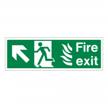 Fire Exit Running Man Left & Diagonal Arrow Up Sign