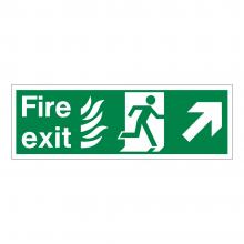 Fire Exit Running Man Left & Diagonal Arrow Down Sign