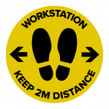 Workstation Keep 2m Distance Floor Graphic