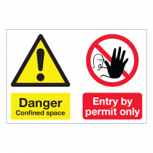 Danger Confined Space / Entry By Permit Only Multi-Message Sign