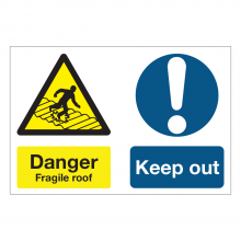 Danger Fragile Roof / Keep Out Multi-Message Sign