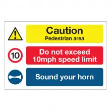 Caution Pedestrian Area / 10mph / Sound Horn Multi-Message Sign