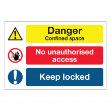 Danger Confined Space / No Unauthorised Access Multi-Message Sign