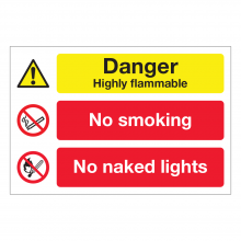 Danger Highly Flammable / No Smoking / No Naked Lights Sign