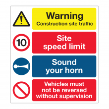 Warning Construction Site Traffic / 10mph Speed Limit Sign