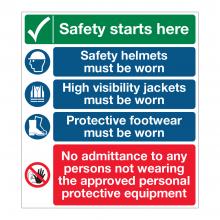 Safety Starts Here 5 Point Multi-Hazard Sign