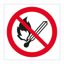 No Naked Flames Symbol Sticker