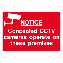 Notice Concealed CCTV Cameras Operate On These Premises Sign