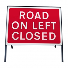 Road On Left Closed Metal Sign Plate (P7010.1)