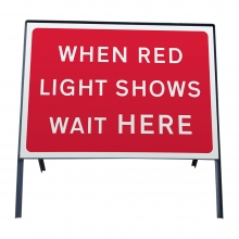 When Red Light Shows Wait Here Metal Sign Face (P7011)