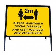 Please Maintain A Social Distance Sign Face