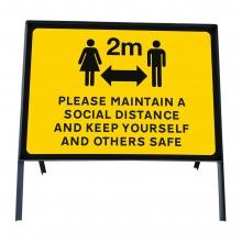 Please Maintain A Social Distance Sign Face