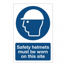 Safety Helmets Must Be Worn On This Site Sign