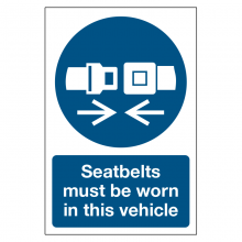 Seatbelts Must Be Worn In This Vehicle Sign