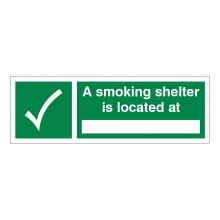 A Smoking Shelter Is Located At Sign