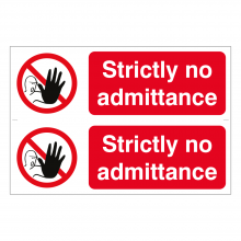 Strictly No Admittance Sign (2up)