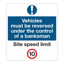 Vehicles Must Be Reversed Under The Control Of A Banksman SIgn