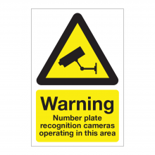 Warning Number Plate Recognition Cameras Operating In This Area Sign