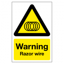 Warning Razor Wire Sign