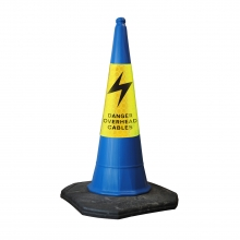 Mastercone Blue Traffic Cone with Danger Overhead Cables Sleeve