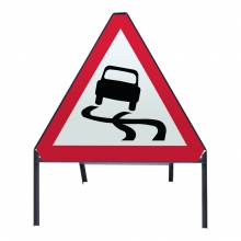 Slippery Road Ahead Metal Sign Face (P557)