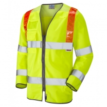 Leo Barbrook Hi-Vis Long Sleeve Orange Brace Waistcoat