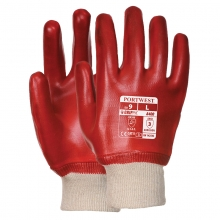 Portwest A400 Red PVC Knitted Wrist Gloves