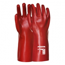 "Portwest A435 Red PVC Gauntlet 35cm (14"")"