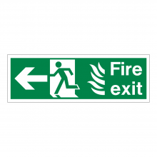 Fire Exit Running Man & Left Arrow Sign
