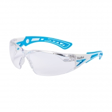 Bolle Rush+ Blue/White Small Safety Glasses with Clear Lenses