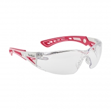 Bolle Rush+ Pink/White Small Safety Glasses with Clear Lenses