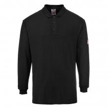 Portwest FR10 Black Flame Resistant Anti-Static Long Sleeve Poloshirt