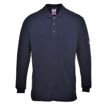 Portwest FR10 Navy Flame Resistant Anti-Static Long Sleeve Poloshirt