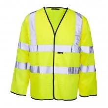 Hi-Vis Yellow Long Sleeve Waistcoat Size Large